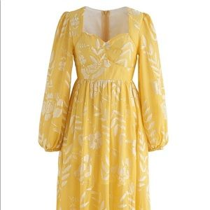 Chicwish Yellow Flower Embroidered Maxi Dress Med